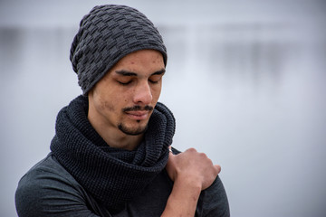 Close-Up Of Man In Warm Clothing