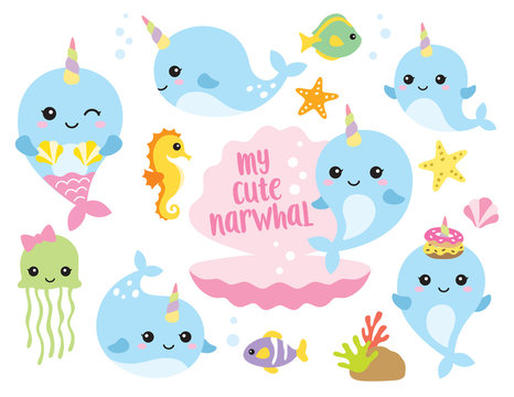 Vector illustration of cute baby narwhal or whale unicorn characters with fishes, seahorse, jellyfish, starfishes, and shells.