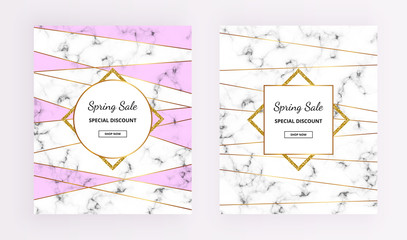 Cover Spring sale, line design with marble texture and gold glitter frames, purple colors background. Template for design invitation, card, banner, wedding, baby shower, placard, poster, flyer