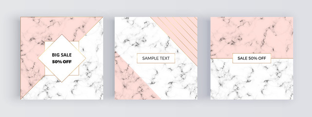 Modern social media banners, marble texture with pink geometry background. Square template for designs, card, flyer, invitation, party, birthday, wedding, email, web, website, phone