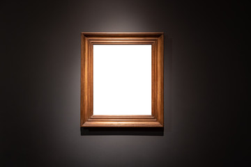 Blank hanging individual frame in an art gallery black background