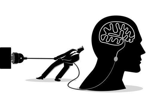 Businessman trying to unplug the brain