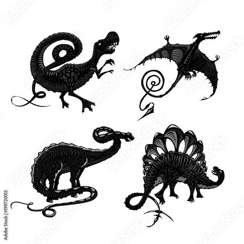 Dinosaurs black silhouette isolated on white. Tyrannosaurus, pterodactyl, stegosaurus and apatosaurus. Tattoo style.