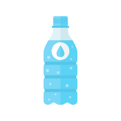 Water bottle icon in flat style. Bottle illustration on white isolated background. Water plastic container concept.