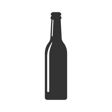 Beer bottle icon in flat style. Alcohol bottle illustration on white isolated background. Beer, vodka, wine concept.