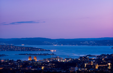 Oslo in the evening, seen from Grefsenkollen.