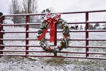 Christmas wreath on farm gate