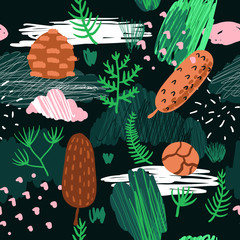 Seamless Pattern with Trees, Branches and Fir Cones. Childish Forest Background with Abstract Elements for Fabric Textile, Wallpaper, Wrapping Paper, Decoration. Vector illustration