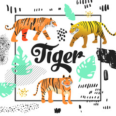 Cute Tiger Hand Drawn Design. Childish Animals Background for Poster, Greeting Card, Decoration, Cover. Vector illustration