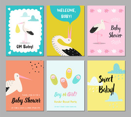 Baby Shower Cards Set. Newborn Child Invitation, Congratulation, Poster, Greeting Design with Cute Stork. Happy Birthday Party Decoration. Vector illustration