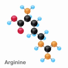 Molecular omposition and structure of Arginine, Arg, best for books and education