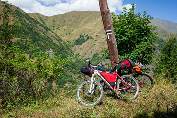 Mountain bicycle prepared for distant travel