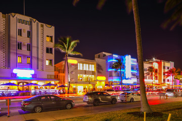 Night photo Ocean Drive tourist destination Miami