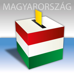 Hungary, political elections, ballot box with flag