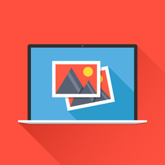 Laptop and photos icon on laptop screen. Photo app, images concept. Modern flat design graphic elements. Long shadow design. Vector illustration
