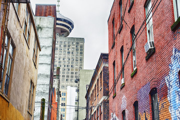 Old alley in the downtown core of Vancouver, B.C., Canada