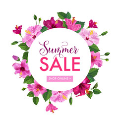 Summer Sale Floral Banner. Seasonal Discount Advertising with Pink Hibiscus Flowers. Tropical Paradise Promotional Design for Poster, Flyer. Vector illustration