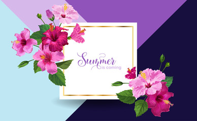Hello Summer Poster. Floral Design with Pink Hibiscus Flowers for Party Invitation, Banner, Flyer, Sale, Advertising. Tropical Botanical Background. Vector illustration