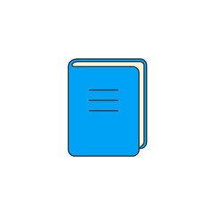 Book Icon isolated on white. Vector flat color symbol. Front view