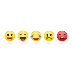 Smile expression chat collection. Funny flat emoji emoticon reactions color icon. Feedback smiley icon. Vector