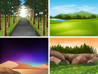 Four nature scenes with mountains and field