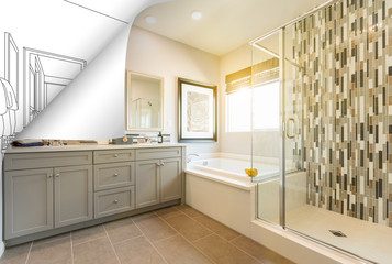 Master Bathroom Photo Page Corner Flipping with Drawing Behind