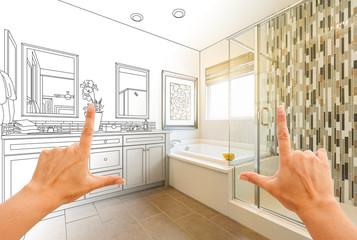 Hands Framing Custom Master Bathroom Drawing and Photo Gradation