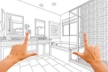 Hands Framing Custom Master Bathroom Drawing