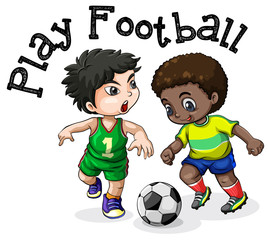 Kids Playing Football on White Background