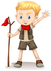 A Cute Boy Scout on White Background