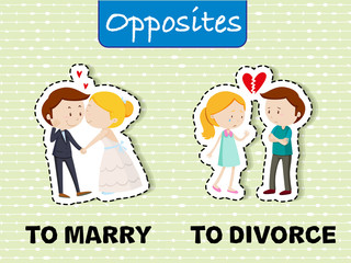Opposite words for marry and divorce