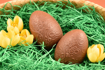 Chocolate Easter eggs stock images. Easter decoration photo. Spring decoration images. Easter concept