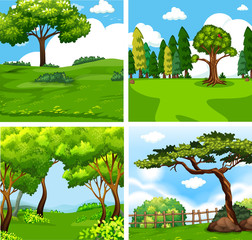 Four different green nature scene