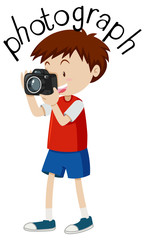 Flashcard for word photograph with boy taking picture