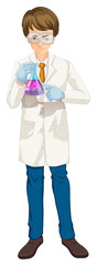 A Scientist holding a beaker