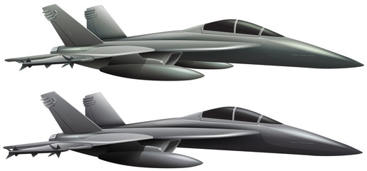 Two jet planes on white background