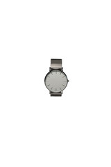 Silver watch without pointer on white background