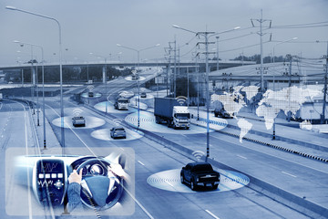 electric car or intelligent car.Heads up display(HUD).futuristic vehicle and graphical user interface(GUI) :   wireless communication network of vehicle, Transportation concept