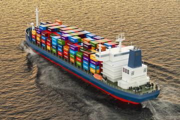 Cargo ship sailing in ocean, 3D rendering