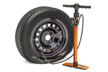 High pressure hand pump with puncture car wheel. 3D rendering