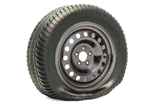 Punctured car wheel, flat tire. 3D rendering