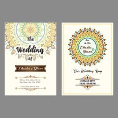 Elegant Wedding card with mandala ornament