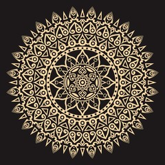 Elegant mandala ornament with black and gold color