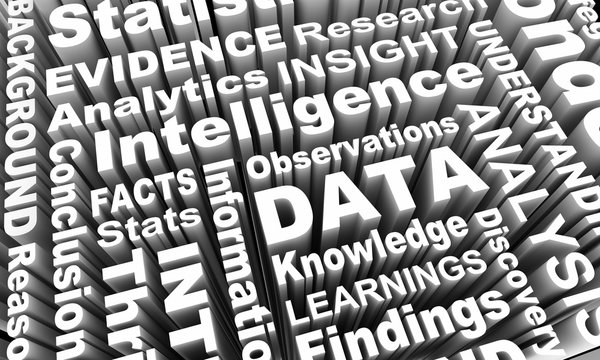 Data Intelligence Insight Analysis Words 3d Illustration