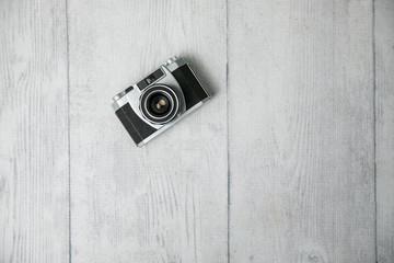 Vintage Camera on White Wood