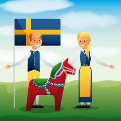 midsummer celebration traditional people clothes swedish flag sweden woodhorse vector illustration
