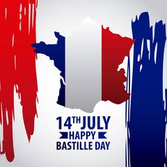 bastille day french celebration flag grunge revolution vector illustration