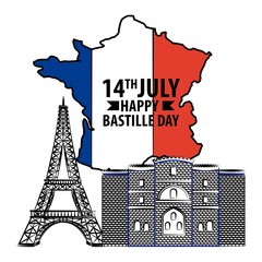 bastille day french celebration map of france tower eiffel and castle vector illustration