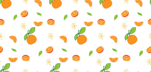Tropical fruits seamless pattern on white background.