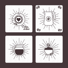 coffee time set hot drink beverage delicious vector illustration